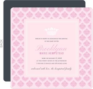Royal Pink Princess Sibling Birth Announcement