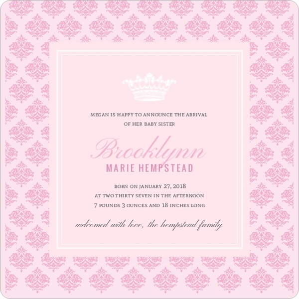 Royal Pink Princess Sibling Birth Announcement – Sibling Birth Announcement Wording