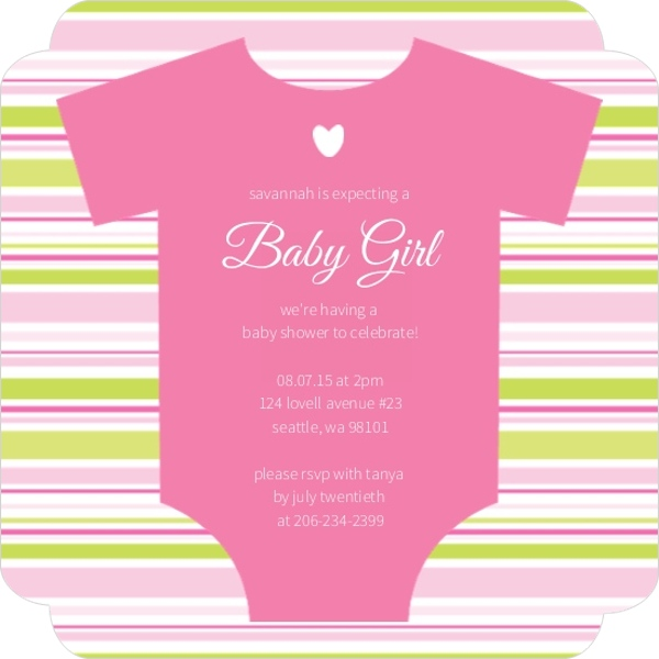 pink onesie girl baby shower invitation by invite shop
