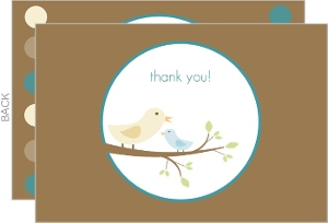 Brown and Blue Mommy and Baby Bird Baby Shower Thank You Card