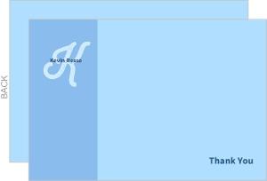 Blue Monogram Thank You Cards