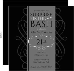 Black and Grey Formal Soiree Surprise Party Invite