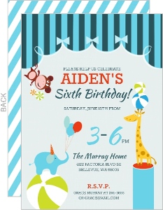 Blue Circus Birthday Party Invitation