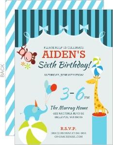 Blue Circus Birthday Party Invitation