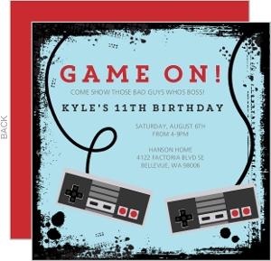 Gamer Kids Birthday Invitation