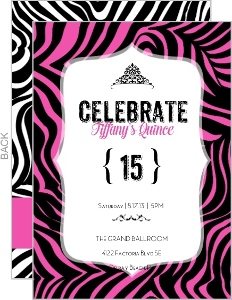 Bright Pink Zebra Print Quinceanera Invitation