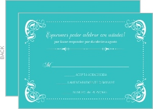 Elegant Teal Flourish Border Quinceanera Response Card