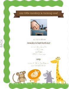 Jungle Animals First Birthday Invitation