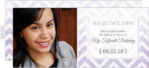 Chevron Purple Ombre Quinceanera Invitation