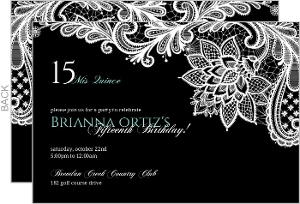 Black Floral Lace Quinceanera Invitation