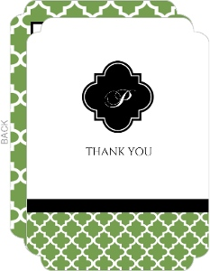 Elegant Green and White Thank You Card