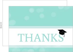 Turquoise Bubbles Graduation Cap Thank You Card