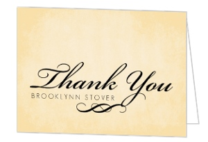 Textured Cream and Black Flourish Thank You Card