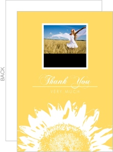 Yellow Sunflower Photo Thank You Card