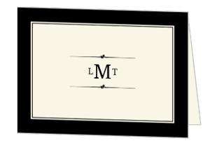 Classic Black Mongram Thank You Card