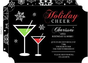 Holiday Cheer Martini 50th Birthday Card