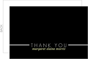 Simple Black and White Line Thank You Card