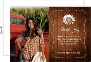 Wood Grain Sunflower Thank You Card