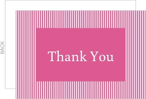 Bubblegum Pink and White Striped Thank You Card