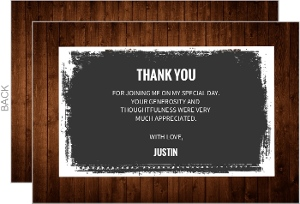 Wood With Gray Background Thank You Card