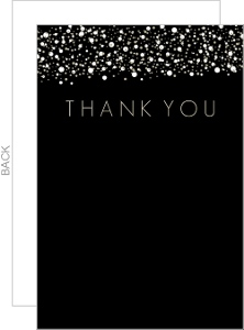Black and Gold Confetti Thank You Card