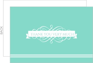 Teal and White Embellished Thank You Card