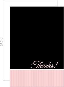 Black and Pale Pink Striped Thank You Card