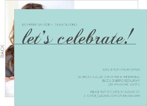 Elegant Turquoise Graduation Invites