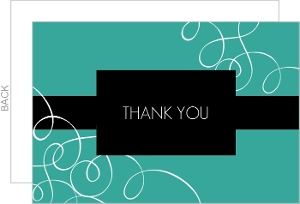 Black and Turquoise Flourish Thank You Card