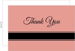 Pale Pink and Black Stripe Thank You Card