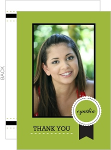 Lime Green and Black Photo Thank You Card