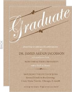 Brown Linen Graduation Invitation