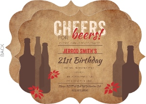 Modern Beer Holiday 21st Birthday Invitations