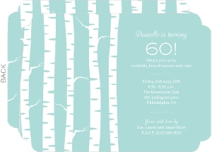 Birch Trees Winter 60th Birthday Invite