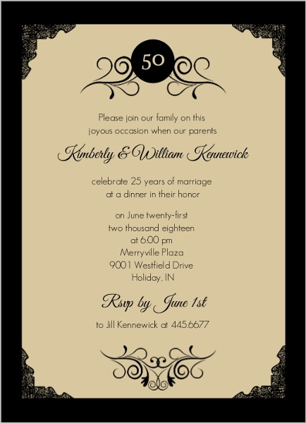 Gold photo frame antique th anniversary invite