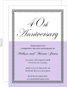 Lavender and White Vintage 40th Anniversary Invite