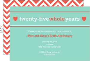 Aqua Twenty-Five Whole Years Anniversary Invitation