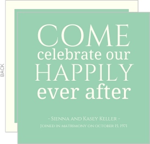 Green 40th Anniversary Happily Ever After Anniversary Party Invitation