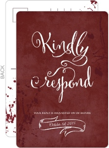 Red Rustic Blood Splatter Halloween Response Card