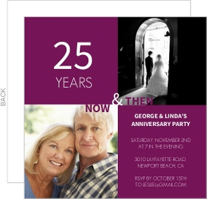 Ruby Modern Squares 25th Anniversary Invite