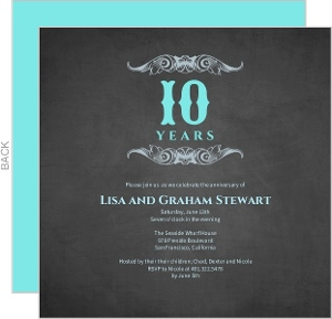 10 Year Gray and Teal Anniversary Invitation
