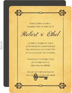 Black and Yellow Ornate Frame 50th Anniversary Invite