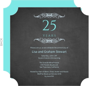 Gray and Teal 25th Anniversary Invitation