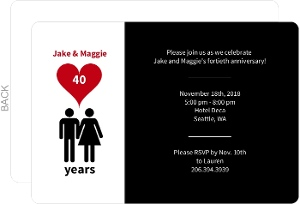 Man and Woman Icon Love 40th Anniversary Party Invitation