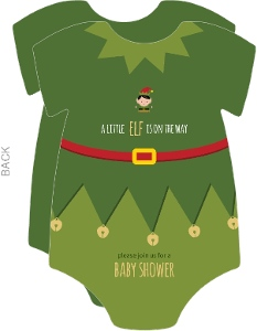 Cute Elf Onesie Holiday Baby Shower Invitation