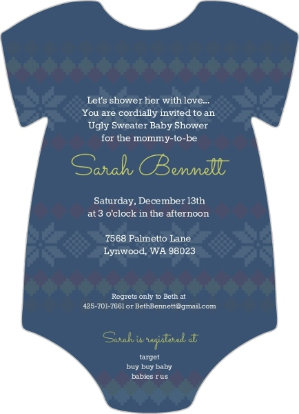 Cute Ugly Sweater Baby Shower Invitation Card - Invite Shop