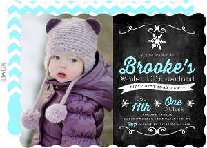 Chalkboard Winter Onederland First Birthday Invitation First