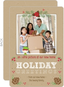 Elfie Selfie Holiday Greeting Moving Announcement Photo Card