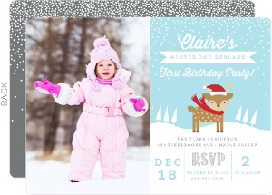 Let It Snow Wonderland First Birthday Invitation