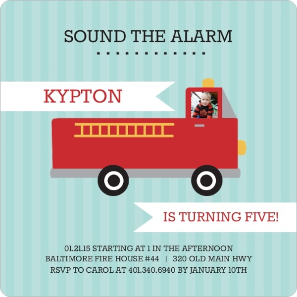 Sound the Alarm Fire Truck Birthday Party Invitation – Fire Engine Party Invitations